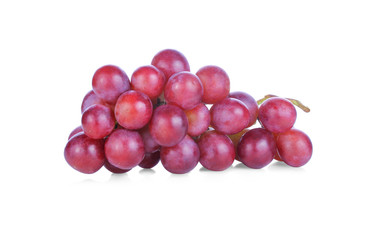 Ripe red grapes isolated on white background