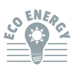 Eco energy logo, simple gray style