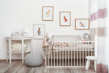 Modern interior of child's room with animal pictures