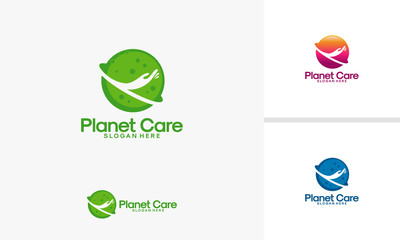 Planet Care logo designs vector, Health Planet logo template, Planet logo Template