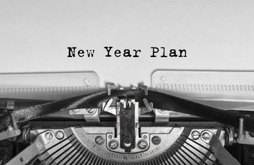 New Year Plan message typed on a vintage typewriter