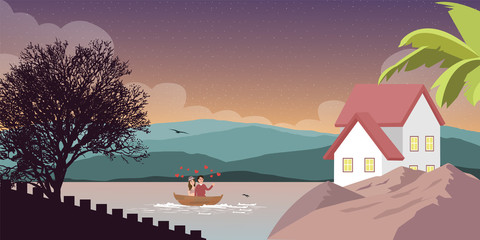 mountain lake in scenery nature with house home on side couple on boat