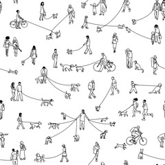 Seamless pattern with tiny people walking their dogs, black and white outline ink illustration