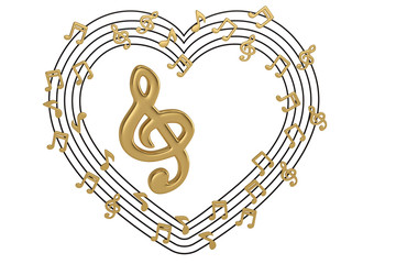 Gold big music symbol and heart made with musical notes.3D illustration.