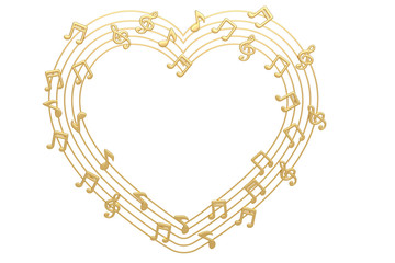 Heart made with gold musical notes.3D illustration.