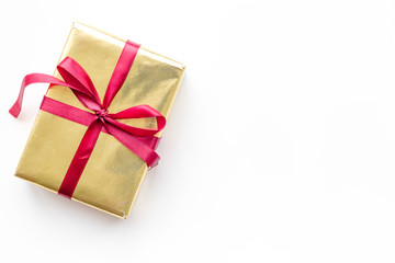 buying and wrapping presents for boxing day white background top view mockup