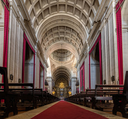 Interior of the New Cathedral of Coimbra, Portugal, previously the church of the Jesuit Formation house of Coimbra, established in the city in 1543. Coimbra, Portugal.