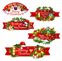 Christmas New Year vector greeting ribbon icons