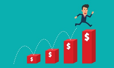 Businessman jump over to the top red bar charts dollar money simple cartoon character vector illustration in flat modern design isolated in turquoise background