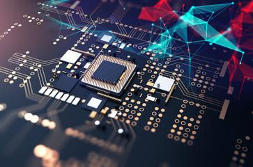 3d rendering  of futuristic blue circuit board