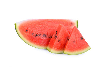 portion cut ripe watermelon white seed on white background