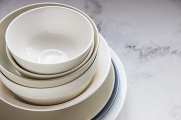Ceramic plates on a white background close up