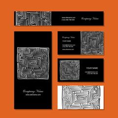 Business cards design, labyrinth square