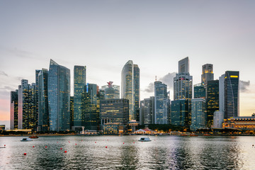 Wonderful Singapore skyline at sunset. Skyscrapers in downtown