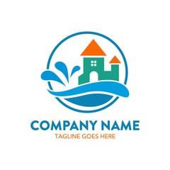 water park logo. vector. editable.