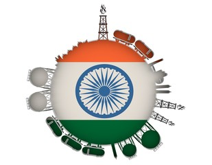 Circle with energy relative silhouettes. Natural gas industry concept. Objects located around the manometer circle. 3D rendering. Flag of the India