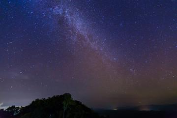 Pha Hua Singhs at Doi Samer Daw, Night photography of milky way in Sri Nan national park, Thailand