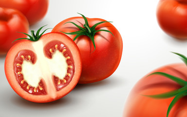 Fresh tomatoes with sliced one