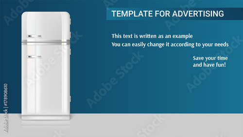 Template with retro vintage fridge for advertisement on