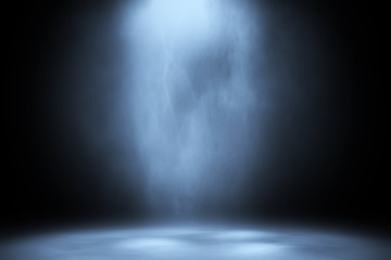 blue spotlight smoke studio entertainment background.