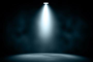 In de dag Licht, schaduw blue spotlight smoke studio entertainment background.