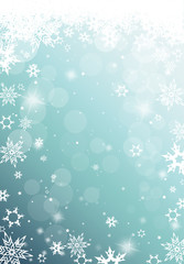 Christmas light background with white snowflakes