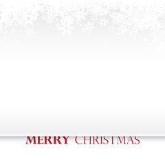 Christmas light background with white snowflakes and red Merry Christmas text - light version
