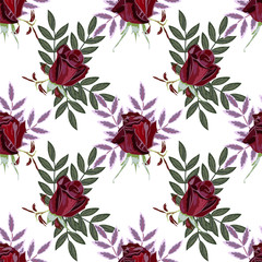 Seamless pattern with beautiful red roses and sprigs. Vintage floral background for textile, cover, wallpaper, gift packaging, printing.Romantic design for calico, silk, home textiles.