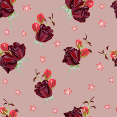 Seamless pattern with beautiful red rose on  pink background. Vintage floral background for textile, cover, wallpaper, gift packaging, printing.Romantic design for calico, silk,