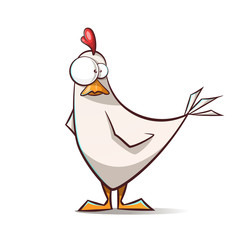 Funny, cute cartoon hen characters. Vector eps 10