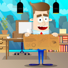 Happy smiling successful businessman showing graphs on old paper banner. Vector cartoon character illustration.