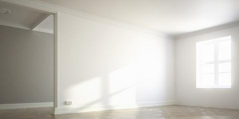Raumadaptation: leeres Wohnzimmer (panoramisch)