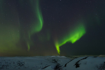 Night,winter, landscape, hills,tundra, and in the sky the stars, Aurora.