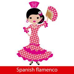 Girl in pink flamenco dress