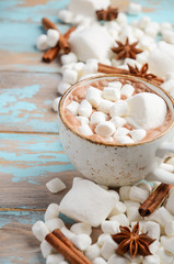 Hot Chocolate, White Marshmallows and Winter Spices on Blue Wooden Background
