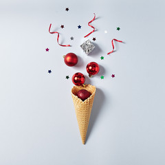 Ice Cream Cone with Christmas Decoration