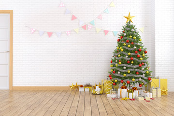 Modern and minimalist interior of living room , christmas tree on white brick wall and wood floor ,at home for the holidays,empty room,3d rendering