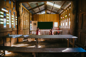 Students in classroom;Tribal students in rural; Hill tribe school, Education in rural.