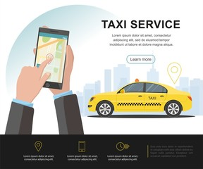 Taxi service concept. Vector banner, poster or web page, background template. illustration.