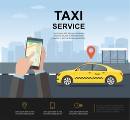 Taxi on background the city. Man call a taxi by smartphone. Taxi service concept. Vector web template. illustration.