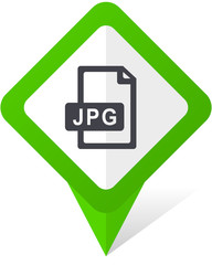 Jpg file green square pointer web and mobile phone vector icon in eps 10 on white background with shadow