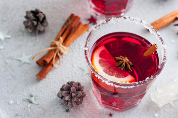 Mulled wine in Christmas decorations, horizontal, copy space