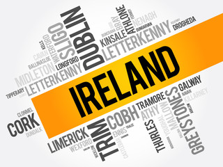 List of cities in Ireland word cloud collage, business and travel concept background