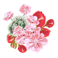 Bouquet of cute pink and red flowers. Decor elements for greeting cards, wedding invitations, birthday and other celebrations. Isolated on white background.