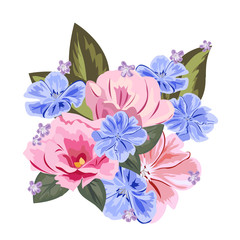 Bouquet of cute pink and blue flowers. Decor elements for greeting cards, wedding invitations, birthday and other celebrations. Isolated on white background.