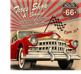 Tire service retro poster