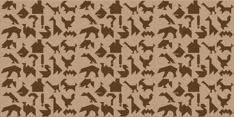 Wooden background with silhouettes of animals, and others, tangram