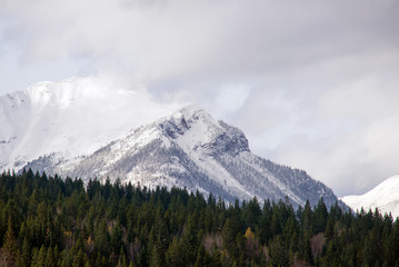 Peaks of the Rocky Mountains from the town of Golden, BC, Canada.