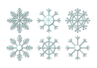 Blue snowflakes with shadow