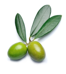 Olives with leaves .